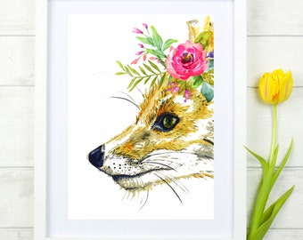 Watercolour Fox Painting Art Print Boho Floral Digital Print Wall Art