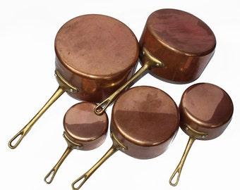 Vintage Antique French Copper Sauce Pan  Set of 5 Frying Pan Pot cooking pot with Brass Handle Copper Utensil Antique Copper Pot  A0077