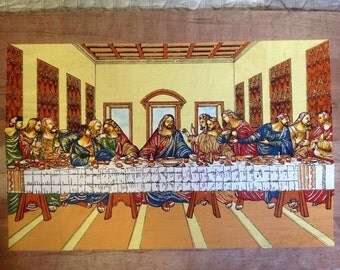 Christian painting on original egyptian papyrus...