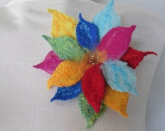Flower brooch,Gift for her,Wearable art,Felted flower,Accessories woman