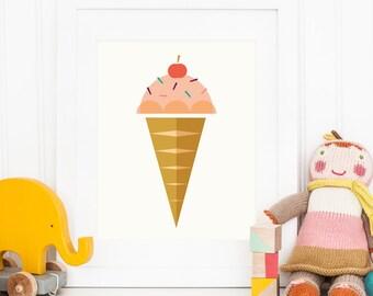 Ice cream prints, nursery decor, printable art, nursery wall art, kitchen prints, childrens art, kids prints, diy art, instant download
