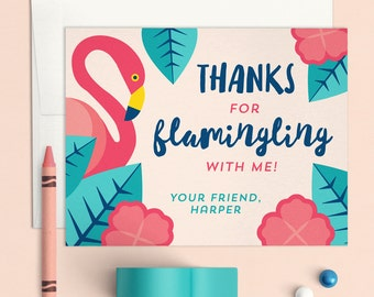 Flamingo Thank you Notes, Flamingo notecards, Flamingo Party Thank you, Personalized notecards, printable thank you card, Custom Thank you
