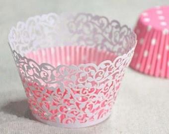 White laser cut, filigree  cupcake wrapper