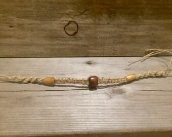 Women's Hemp Bracelet with Bone and Wooden Beads