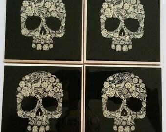"""Handmade """"Dia de los Muertos"""" Coasters"""
