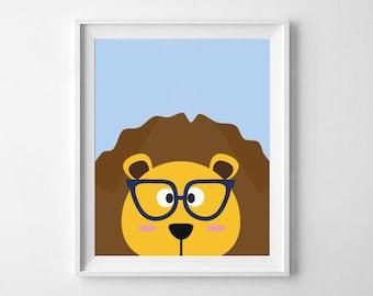 Lion With Glasses | Animal Nursery Print, Playroom Print | Digital Download