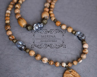 Sophisticated beige beaded  necklace with natural jasper stone, bohemian style,   handmade, gift for her, free shipping