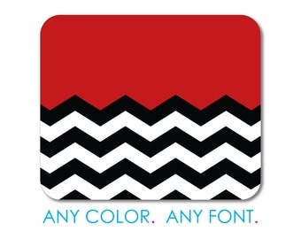 """Custom Mouse Pad - Personalized Monogram  - 1/4"""" Thick - Full Color Mousepad - Any Design - Black White Red Chevron"""