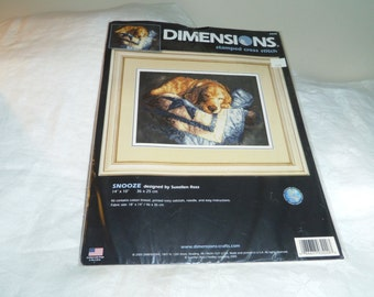 Dimensions Stamped Cross Stitch Kit #3220 SNOOZE Golden Retriever on Quilt Unopened