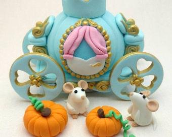 Cinderella Princess Birthday cake topper, Carriage, mice and pumpkins edible fondant .