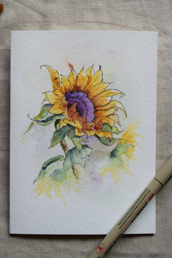 Sunflower watercolor painted card prints only for Watercolor paintings of hands