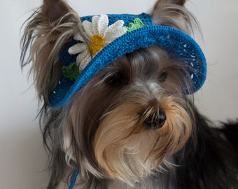 "Hat for dogs ""Daisy"", Crochet Dog Hat, Dog Party Hat, Dog Sun Hat, Small Dog Hats, Top Hats For Dogs"