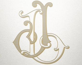 Wedding Printable Monogram - JL LJ - Printable Monogram - Vintage