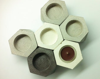 Concrete Candle Holder Puristic teacandle holder - Honeycomb minimal Home Decor Valentine's Day Gift