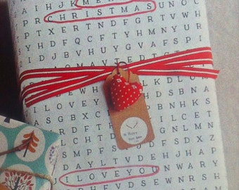 Word search -  Printable Wrapping Paper (Digital file) - Find-a-word - Birthday - Christmas - Love
