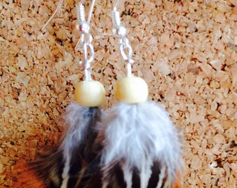 Natural pheasant feather and bead earrings