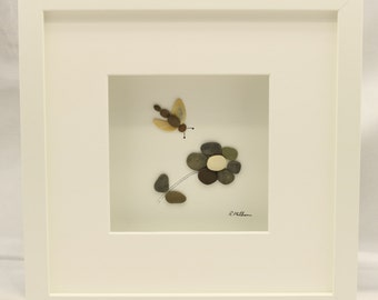 Pebble art picture flower and dragonfly 1