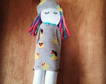 Handmade Spring theme Sock girl doll, with funky duck pattern, and rainbow hair
