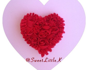 Red Rosette HeartClip
