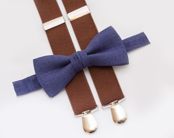 Baby Boy Clothes Funny Navy Blue Bow Tie and Brown Suspenders Birthday Toddler Outfit