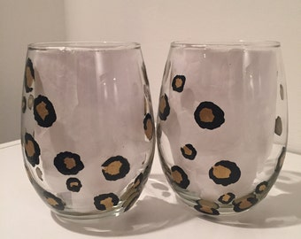 Set of 2 Hand Painted Leopard Wine Glasses, Stemless, Tumblers, Chic, Black and Gold, Animal Print, Gifts