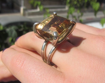 Citrine SIlver Ring - Citrine Ring - Sterling Silver Ring - Statement Ring - Cocktail Ring - Size 7.5 Ring - November Birthstone