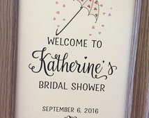 WELCOME Romantic Bridal Shower Sign, Bridal Shower Umbrella Sign,5x7 Bridal Shower Sign,Printed Bridal Shower Sign