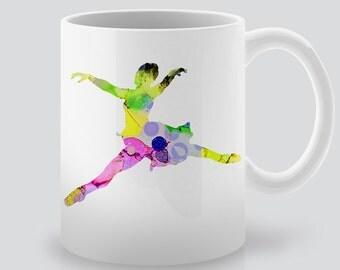 Watercolor Ballerina Mug -  Tea Cup -  Coffee  Cup -  Ceramic Mug - Colorful Printed Mug - Gift for Girl