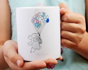 Mug - Elephant Mug - Cute Mugs - Fun Mugs - Illustrated Mug - Elephant Gift - Gift Mugs