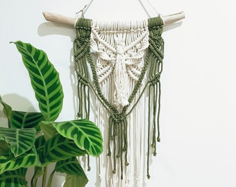 Macrame wall hanging olive and natural medium