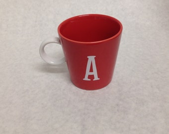 Red Monogrammed Letter A Coffee Cup Mug by Spring