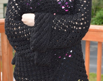 Black Sparkly Crocheted Cardigan/Sweater/Cover Up