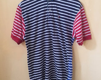 Rare!! Vintage Tommy Hilfiger Stripes Design Polo Shirt Size XL 90s Hip Hop