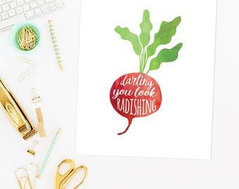 funny kitchen art | funny kitchen sign | you look radishing | you look great print | funny art print | kitchen decor | printable kitchen art