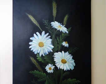 "Original Oil Painting. ""Daisies on black""."
