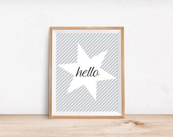 Hello Digital Print, Hello Digital Download, Instant Download, Star Print, Typographic print, Home Decor, Wall Art, poster Art, Nursery Art