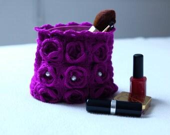 Purple crochet zipper pouch, Crochet cosmetic/makeup bag, Jewelry pouch, Crochet clutch, Crochet purse, Key,phone,coin pouch