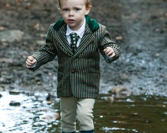Boys houndstooth tweed blazer with velvet collar