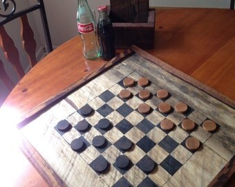 Rustic checkers board