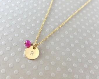 Personalized July Birthstone Ruby Gold Necklace / Rondelle Shape Genuine Ruby / Tiny Initial Disc/ Dainty/Handmade, Hand Stamped