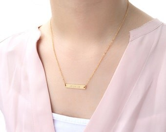 Personalized Bar Necklace / Name, Date, Number or Word / Handmade / Good for Bridesmaid, Birthday and for all Meaningful Gift