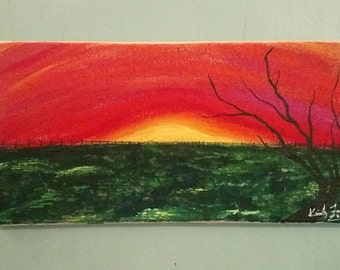 Sunset painting on burlap canvas