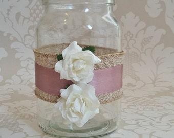 Rose and hessian tealight holder