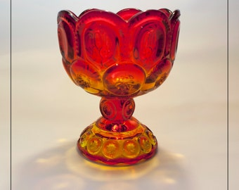 Amberina Red LE Smith Moon and Stars Candy Dish