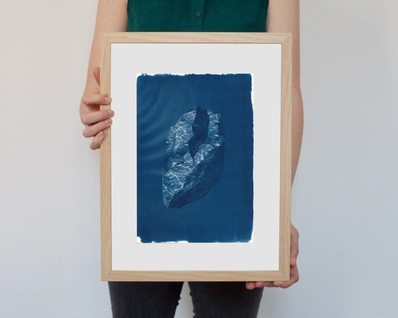 3D Digital Low-Poly Rock, Cyanotype Print on Watercolor Paper, A4 size