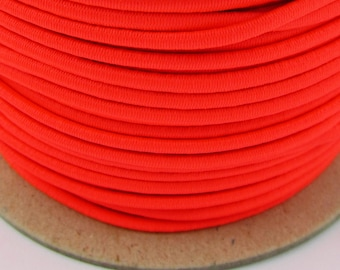 5, 10, 50 m rubber cord 3 mm neon Red
