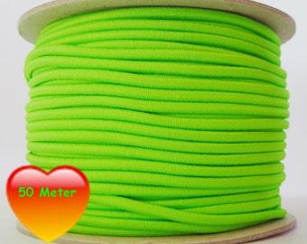50 M rubber cord 3 mm neon green