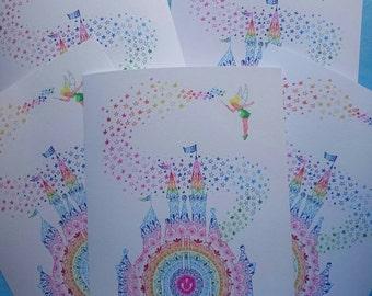 "Mandala disney castle print 10x8"" on matt bond paper"