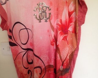"""model # 67 summer party pink tunic """"tattoo"""",size-S-M"""