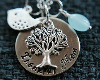 Thankful or Thankful Mom Necklace (silver-tone)